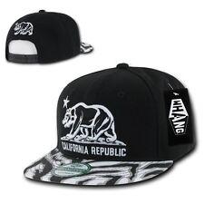 Black California Republic Cali Zebra Print Flat Bill Snapback Snap Back Cap Hat