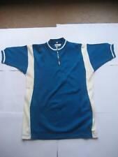 Maillot cycliste Vintage bleu pétrole et blanc