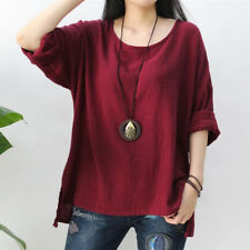 UK Womens Long Sleeve T-shirt Ladies Loose Casual Tops Blouse Pullover Plus Size Wine 4xl