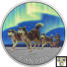 2017 $10 .9999FINE SILVER 1/2oz -DOG SLEDDING UNDER THE NORTHERN LIGHTS(18002)NT