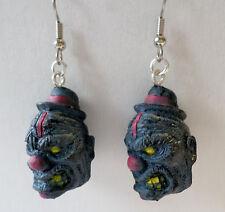 Walking Dead-like Zombie Planet  Zombie the Clown Dangle Earrings HORROR HEADS