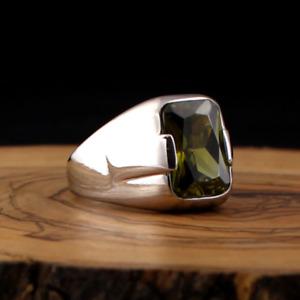 Men's Ring 925 Sterling Silver Turkish Handmade Jewelry Peridot All Size