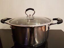 24 cm Stainless Steel Saucepan Casserole Stock Pot Capsule Bottom Glass Lid