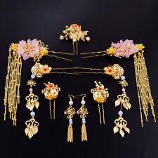 Chinese Retro Bride Tiara Earring Pins Set Crown Wedding Hair Decorations