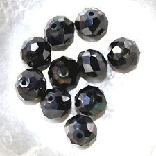 8 X 10 MM Cristal de Bohême 10 CITROUILLES NOIR JET