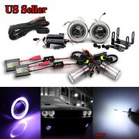 "FOR TOYOTA USA 3"" PROJECTOR FOG LIGHTS+PURPLE CCFL ANGEL EYES+SWITCH+6000K HID"
