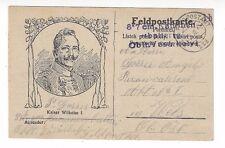 1916 Kaiser Wilhelm I German Feldpostkarte Illustrated Military Censored