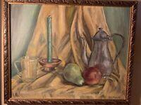 RARE ORIGINAL M. L. TIECHE 1966 OIL ON ART BOARD 22X18  signed FRAMED STILL LIFE