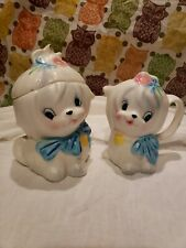 Vintage Lefton Mr. Toodles White Maltese Dog Sugar Bowl and Creamer.