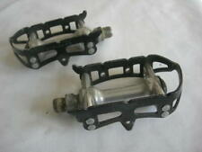 GIPIEMME BLACK-SILVER SPRINT CLIPLESS PEDALS - VINTAGE 1980s - USED CONDITION
