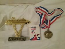 CARNIVAL MAGIC SHIP ON A STICK, PLUS MEDALLION AND PLAYING CARDS