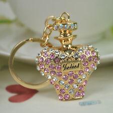 TN Perfume Bottle Keyring Rhinestone Crystal Pendant Bag Keychain Christmas Gift