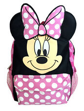 "12"" Disney Minnie Mouse Face Back to School Backpack with 3D Ear for Girls Kids"