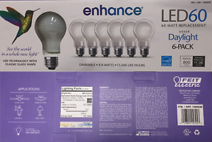 Feit Electric LED Bulb Classic Glass Shape 6-pack 60W Daylight Dimmable, 800 Lum