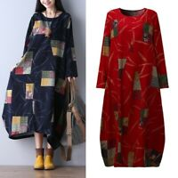 ZANZEA Women Cotton Linen Long Shirt Dress Floral Print Oversize Midi Dress Plus