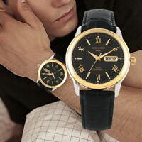 HOLUNS Men Business Watch Leather Band Quartz Wristwatch Date Day Alloy Case