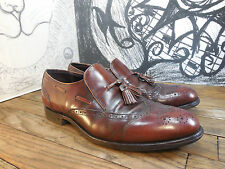 Unique!!! Truely Vintage! Mens Size 10.5D/B Brown Leather Wingtip Tassel Loafers