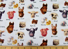 Animal FABRIC Elizabeth Studio's baby animal sounds educational fabric BTY NEW