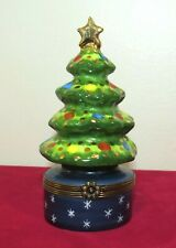 """Limoges Chamart Merry Christmas Trinket Box 4"""" Decorated Christmas tree & star"""