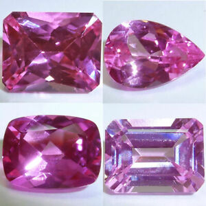 Pink Cushion 9x7mm Lab Pink Sapphire Full of Life and Sparkle Super Color and super Bright Faceted Stone