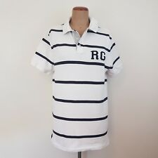 Rodd & Gunn Polo Shirt SZ L White/Blue stripes Tennis Golf Sports Fit Athletic