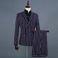 Mens Suits 2PCS Coat Blazer Formal Dress Stripe Slim Wedding Stand Collar Pants