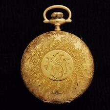 ALL ORIGINAL ELGIN HUNTER POCKET WATCH HEAVY 18K SOLID GOLD SWISS ANTIQUE 1910s
