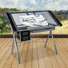 Adjustable Drawing Desk Art Craft Drafting Glass TableTop Tilted with 3 Drawers