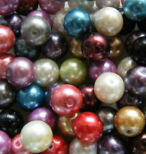 30pcs 12mm Round Glass Pearls (Acrylic) - Mixed Colours