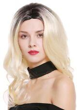 PERRUQUE pour femme Long Ondulé bouclé raie au milieu Ombre Noir blond clair