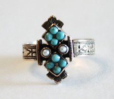 Antique Victorian Persian Navette Turquoise Pearl 14k Yellow Gold Ring