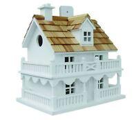 Novelty Cottage Bird House Birdhouse Wren Finch Chickadee Wood Wooden White NEW