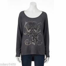 ROCK & REPUBLIC Women's Embellished Cross French Terry Jeweled Top Size S