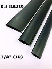 """4 FEET BLACK 1/2"""" 13mm Polyolefin 2:1 Ratio Heat Shrink Tubing M23053/5 CL3 UL"""