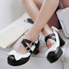 Japanese Lolita Girls Maid Uniform Shoes Cosplay Bow Mid Heels Round Toe Shoes