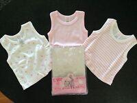 BNIP Baby Girls 0 HW Carter & Sons 3 Pack Soft Cotton Pink/White Singlet Tops