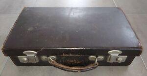 Vintage Rigid Brown Leather Doctors Medical Case Bag with internal drawer