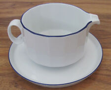 Rosenthal Studio Linie/Line Aegina-Polygon Blue on Rim-Gravy Boat w/ Underplate