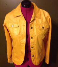Bamboo Traders yellow Faux Leather Casual jacket Women's size small Dress Coat