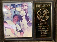 THURMAN MUNSON NEW YORK YANKEES PLAQUE - PHOTO AND 1969 - 1979 CAREER AWARDS