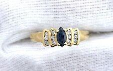 14Kt REAL Yellow Gold Blue Sapphire Diamond Gemstone Gem Ladies Ring EBS199R2