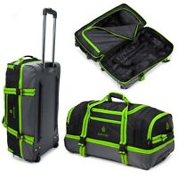 GREEN Wheeled Travel Luggage Trolley Holdall Suitcase Case Wheels Duffle Bag