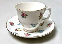Staffordshire Bouquet Fine Bone China Tea Cup and Saucer England EXCELLENT