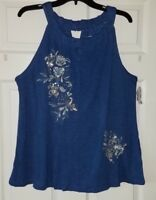 NWT INC International Concepts Embroidered Sequin Halter Top Shirt Plus Size 1X
