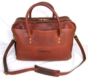 ORVIS Bullhide Thick Brown Leather Extra-Capacity Briefcase / Messenger Bag