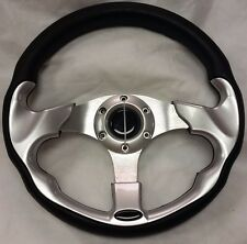 "Club Car DS Golf Cart 13"" SILVER Steering Wheel With CHROME Adapter & Hardware"