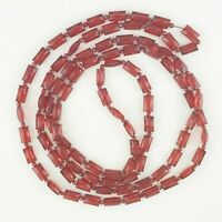 VINTAGE COSTUME LONG RUBY RED PLASTIC FACETED BEADS NECKLACE  APPROX 148CM