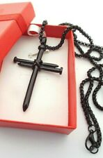 CROSS MADE FROM BLACK METAL NAILS 24 INCH CHAIN GOTH / PUNK STYLE WITH GIFT BOX