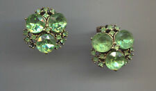 GREEN RIVOLI CLIP ON EARRINGS vintage