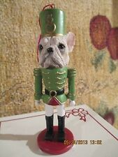 FRENCH BULLDOG ~ WHITE  ~ NUTCRACKER DOG SOLDIER ORNAMENT #64